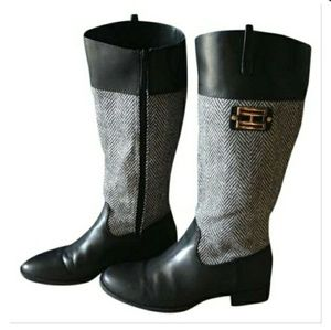 Tommy Hilfiger Black & White Valour Riding Boots.